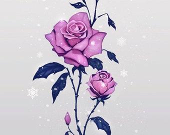Winter rose LIMITED EDITION pastel goth fantasy galaxy artprint roses flowers