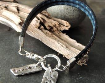 Two Strand Studded Leather Bracelet, Southwestern Artisan Silver Charms, Leather Cuff Bracelet, Stacking Bracelet, Urban Rustic Jewelry