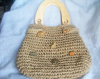 Rattan Purse Wood Handles, Vintage Handbag, Beach Bag, Shopping Bag, Fashion Bag,  Wood Animals, Casual, Bohemian, Retro Beach
