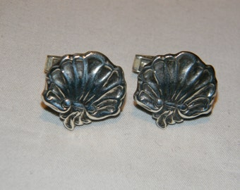 Vintage Sterling Silver Modernist Clam Shell Cufflinks
