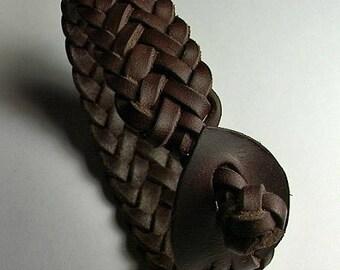 Large Ankle bracelt - Leather plaited choker  - Herring Bone -  Spanish Leather -