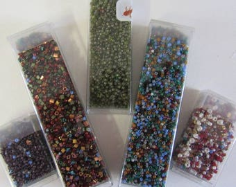 110 Grams Seed Beads Size 11, 6 Different Color Mix, Delica, Triangle, Size 8 Pearl Round, Memory Wire, Necklace, Britz Beads Supply