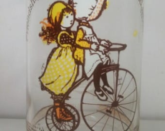 """Vintage Holly Hobbie 16oz Drinking Glass says """"Friendship Makes the Rough Road Smooth"""""""
