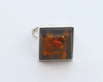 Vintage Sterling Silver Amber Baltic Style Band Ring Size 6.75