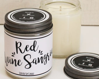 Red Wine Sangria Scented Candle - 8 oz | Candle Gift | Unique Scented Candle | Wine Scented Candle | Personalized Candle | Friend Gift