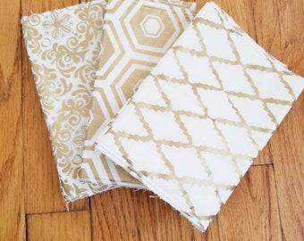 Absorbent Burp Cloths- Gold Patterned