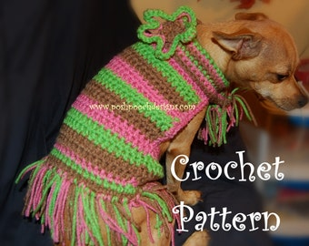 Instant Download Crochet Pattern - Striped Dog Sweater with scarf and Fringe - Small Dog