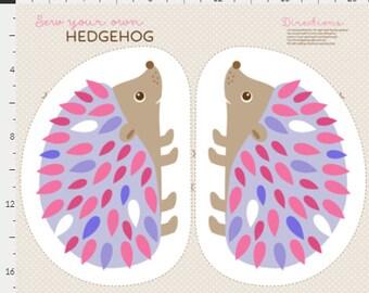 Hedgehog fabric panel, softie hedgehog fabric, plush pattern, plushies panel, cut and sew fabric, diy plushy making kit, kids craft