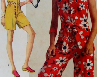 Vintage 1970 Simplicity Jiffy Jumpsuit Pattern in Two Lengths #8787  Size 12   **Epsteam