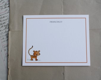 Orange Tiger Thank You Notes for Kids Children Fun Custom Notecard Stationery. Any Occasion, Personalize Watercolor Print, Set of 10.