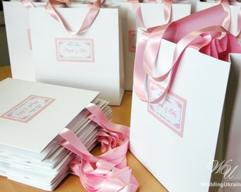 Personalized Paper Bags - Elegant Custom Wedding Welcome gift bags with satin ribbon and tag - White and Light Pink - Weddings Gifts Favors