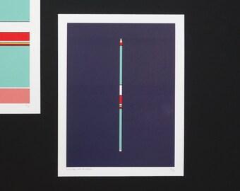 Handmade 6 Color Screenprint Purple Floater, limited edition
