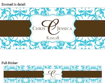 25 Personalized Glossy WATERPROOF Wedding Water Bottle Labels - change designs to any color or wording - many designs to choose from  WW-002