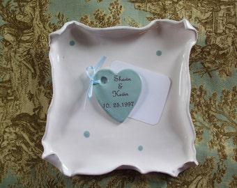 Personalized Heart Charm, Thank-you Guest Book Alternative, Love Note Heart Custom Set of 20 Heart Wedding Favors