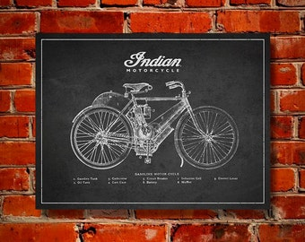 Indian Motorcycle Patent, Canvas Print, Wall Art, Home Decor, Gift Idea