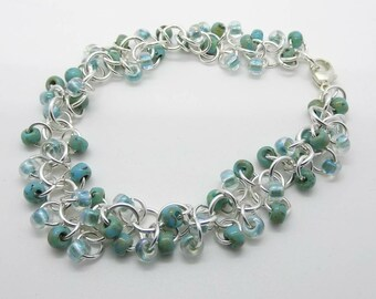 Sterling Silver Japanese Seed Bead Picasso Aqua Chain Shaggy Loops Bracelet - Prima Donna Beads