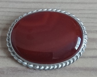 Vintage carnelian and silver brooch
