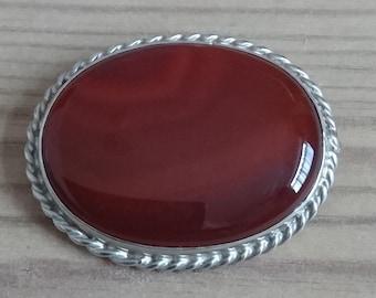 Vintage carnelian and silver brooch