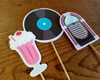 Fabulous 50s Party - Set of 12 Assorted Double Sided Cupcake Toppers by The Birthday House