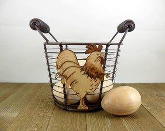 Wire Egg Basket Rooster Chicken Wood Burned - Wine Cork Holder