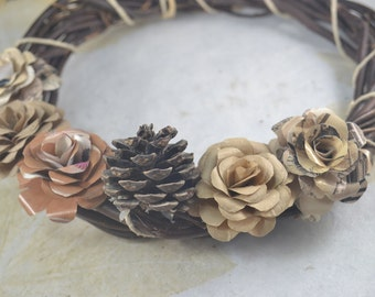 Paper Flowers Wreath, Brown Wood Wreath, Pine Cone, Earth Tone Upcycled Paper Flowers