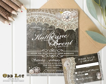 Rustic Lace Wedding Invitation, DIY Wedding Printable, Wood Lace Wedding Invitation and RSVP,  Fall Wedding, Rustic Wedding DIY ~Wood Lace
