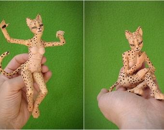BJD Furry cat Elleo. 21 cm