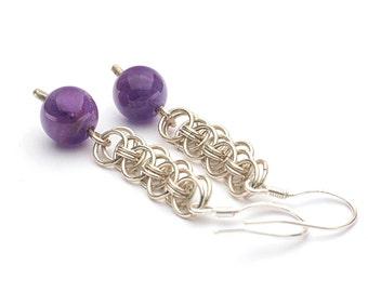 Amethyst earrings, Gemstone earrings, Chainmaille earrings, Silver earrings, Amethyst silver earrings, Purple stone earrings, Long earrings