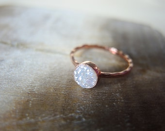 SALE, Natural Druzy Ring, White Druzy Ring, 18K Rose Gold Vermeil Bezel Ring, Druzy Stone Ring, Rose Gold Ring, Druzy Jewelry Gifts For Her