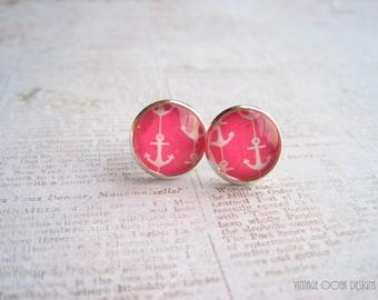 Anchor Earrings, Anchor Jewelry,Nautical Earrings, Pink Anchor Earrings, Yellow Anchor Earrings, Polka Dot Earrings,Summer Jewelry, Anchors