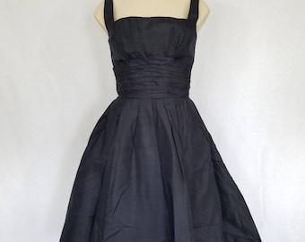 Mam'selle Silk Dress // 1950s Silk Dress // Vintage 50s Silk Dress // Silk 50s Party Dress // 1950s Prom Dress // 1950s Navy Party Dress
