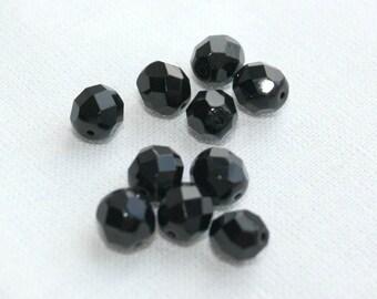 10 Black Czech Fire Polished Glass Beads