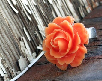 Flower Ring, Orange Rose, Gothic Victorian Big Ring, Bridesmaids Gifts  by Smash Gardens on Etsy. Bridesmaids Gift, Woodland Wedding, Fall