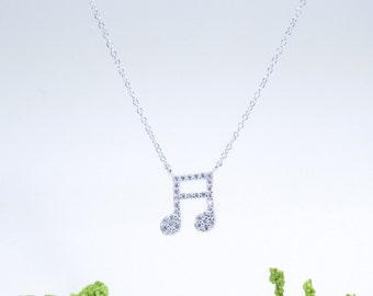 Music Book Necklace Cz Gold Vermeil 925 Silver Yellow Rose