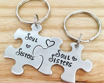 Soul Sisters Keychain - Set of 2 Soul Sisters - Best Friends Keychain - Puzzle Piece Keychain Set - Gifts for Sisters - Hand Stamped Jewelry