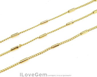 WSALE / 10M / BC-006 Gold plated, 135S Curb Chain with 4mm pipe, Unique Chain, Design Chain, Necklace Chain, Bracelet chain, Gold chain