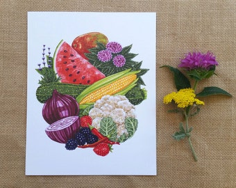 Fruit and Vegetable Harvest Print, Fruit & Veggie Print, Garden Art, Kitchen Art, 8 x 10 Art Print