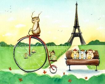 Herbert Pedals Through Paris - A Fine Art Print