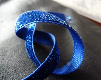 Glitter Ribbon synthetic Navy Blue 1 m