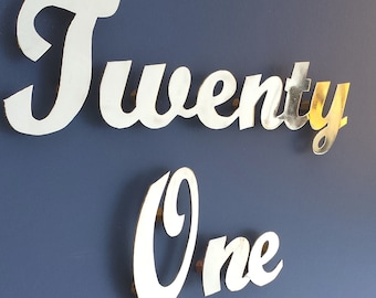 """Brass Script House name or number  3""""/75mm high, sign locators for easy installation"""