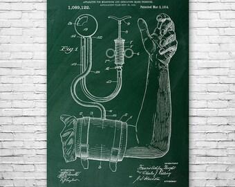 Blood Pressure Cuff Poster Art Print, Medical Poster, Blood Pressure, Medicine, Medical, Doctor, Nurse, Patent Art, Gift, Patent Print