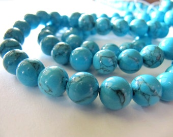 8mm Imitation Turquoise Beads in Sky Blue, 1 Strand 15in, 48 Beads, Light Blue Gemstones, Stone Beads
