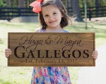 Family Name Sign, Wood Established Sign, Carved Wooden Sign, Engagement Date Sign, Carved Wedding Sign, Benchmark Custom Signs, Walnut LH