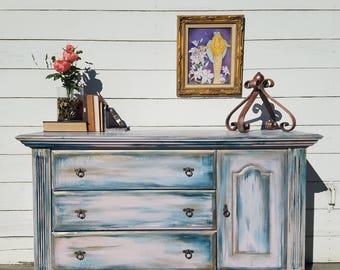 """SOLD** Custom painted """"Mermaid"""" dresser"""