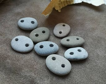 Small beach stone buttons 1in 7pcs Oval pebble buttons