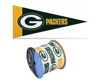"2.5"" NFL Green Bay Packers Ribbon, 9 feet & Mini Pennant, Licensed NFL Offray Ribbon"
