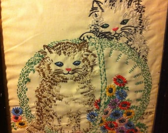 Vintage Fat Cats Hand-crafted Needle Point Art Wall Hanging Framed Linen Silk