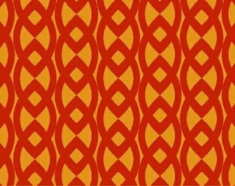 Moe3 for Windham, Neo Geo Contemporary Celtic Stripe in Orange - 1 Yard Clearance