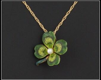 Antique 14k Gold Clover Pendant | Antique Pin Conversion | Pearl Clover Pendant with Optional 10k Chain | Enamel Clover Pendant