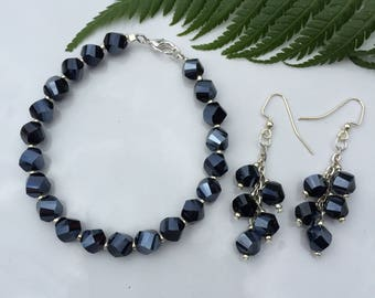Gunmetal Blue and Silver Handmade Bracelet and Earring Set